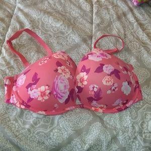 VS pink push up flower bra